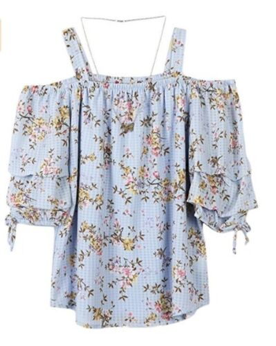 Speechless Big Girls/' Cold Shoulder Tiered Sleeve Top SIZE S