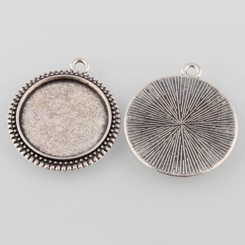 10 antique silver 20mm rope edge cabochon tray settings for jewellery making