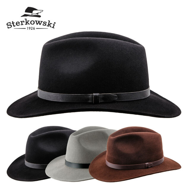10382c49f Sterkowski 'REDWOOD' Wool Felt Wide Brim Fedora Hat ; Elegant Retro Manly  Cowboy
