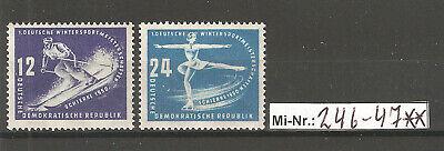 Deutschland 246-47 Wintersportmeisterschaften 1950 Sauber Postfrischer Satz Gerade Ddr Mi-nr.