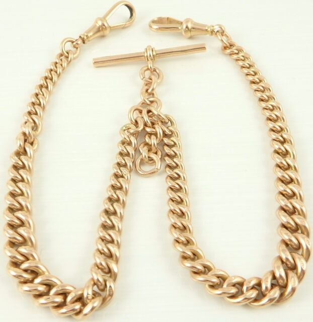 Heavy 16 inch antique 9ct rose gold double albert watch guard chain 62 grams
