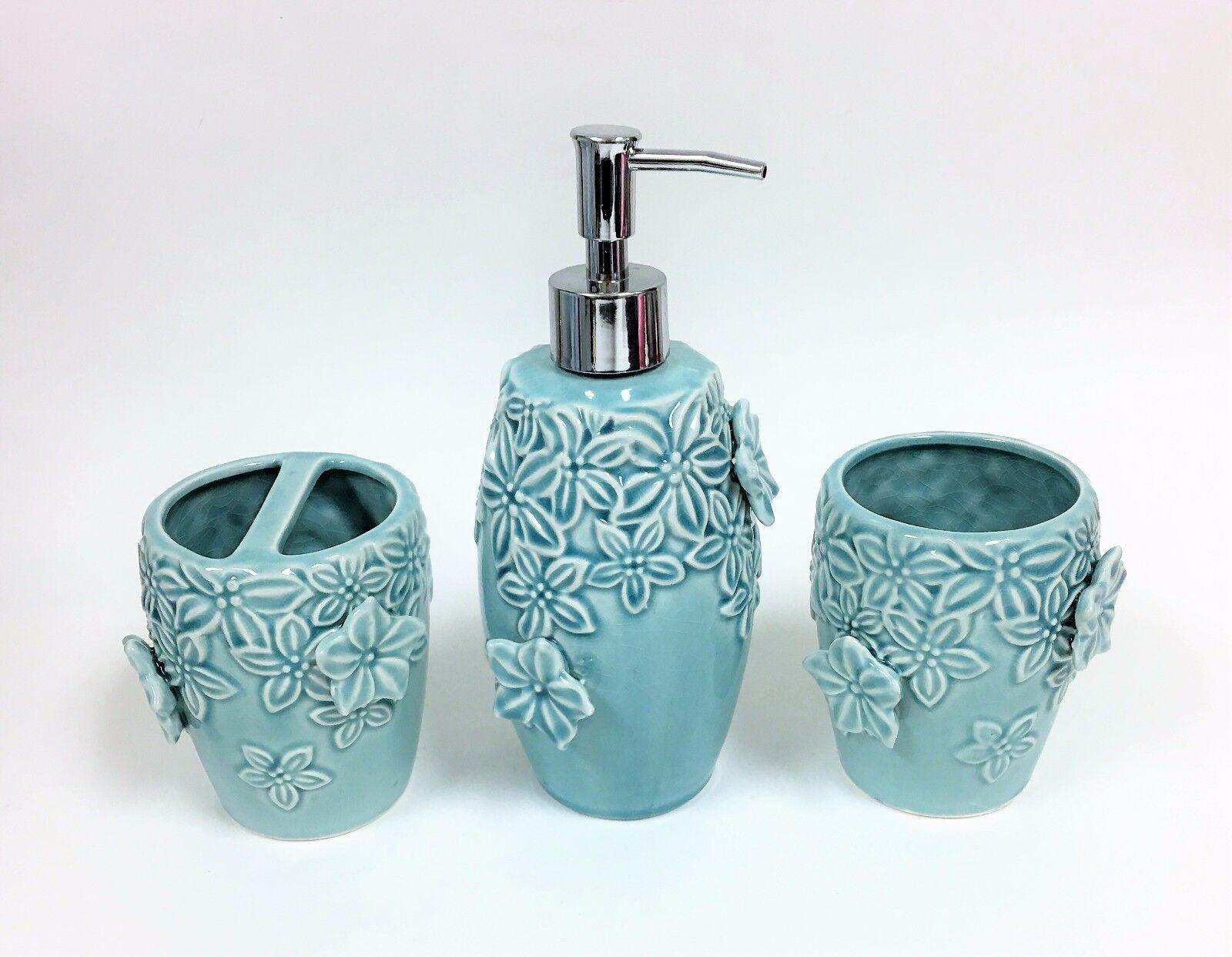 3 Piezas Juego Style Sanctuary Azul Turquesa Cerámica, 3D Floral