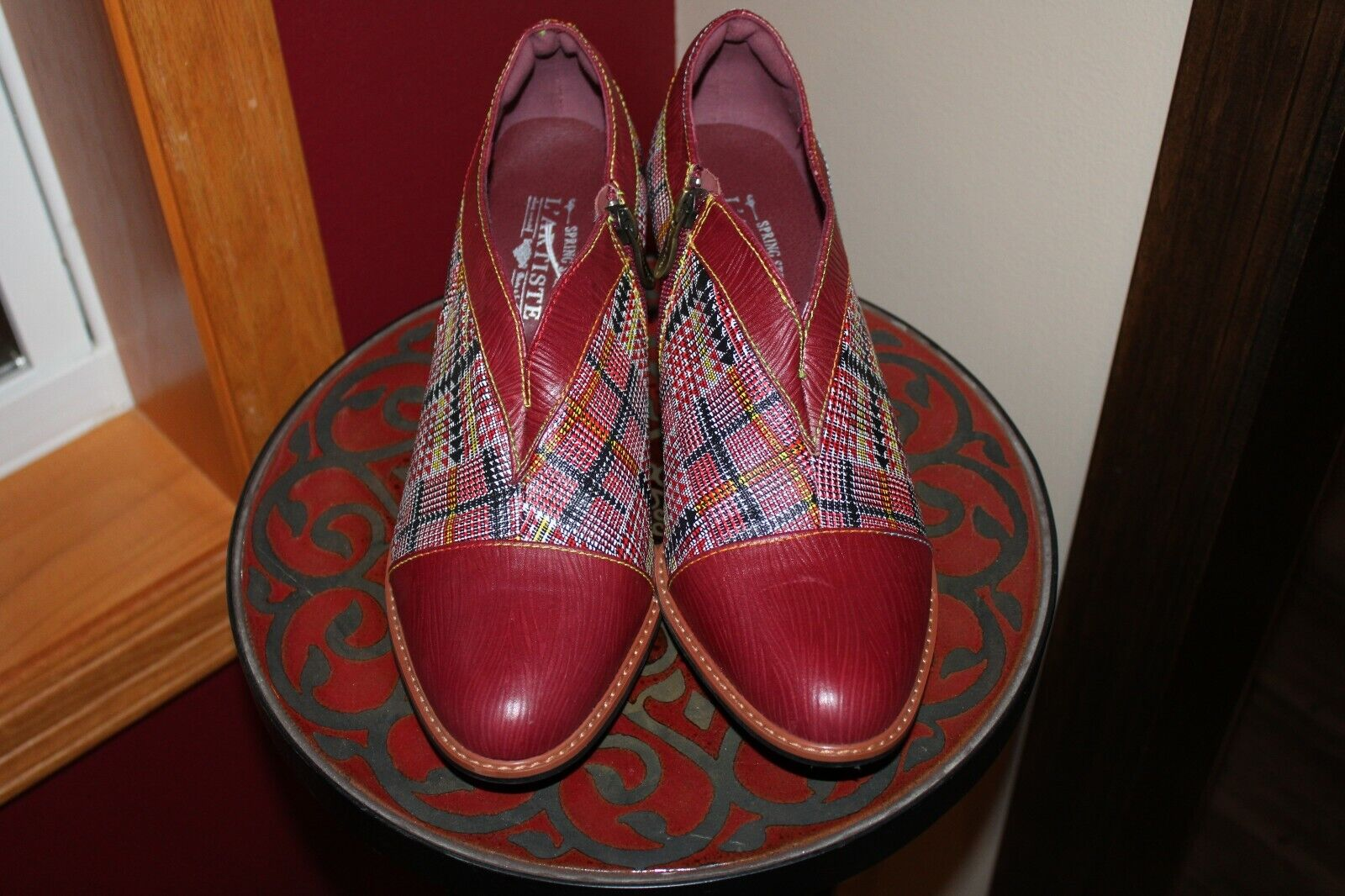 Spring Step L'Artiste PALAGIA Red Leather Zip Heeled Shootie Sz 42 / US 10.5 11