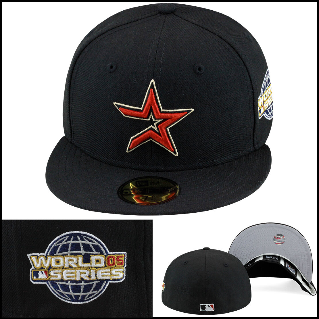 best website 77531 7ca54 New Era 59fifty Houston Astros Fitted Hat Cap 2005 World Series Side Patch  MLB