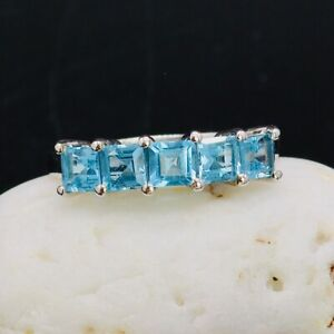 Certified Electric Blue Topaz Sterling Silver Ring Size R1/2(UK) 9(US) R:657