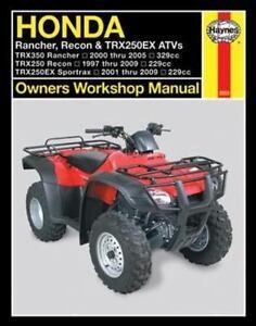 2000 2009 honda rancher recon trx250ex atv haynes repair service rh ebay com 2004 honda rancher es service manual 2004 honda rancher owners manual