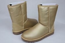 UGG CLASSIC SHORT METALLIC GOLD SUEDE SHEEPSKIN BOOTS WOMENS SIZE 8 US