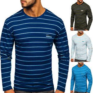 Longsleeve Sweatshirt Langarm Shirt Rundhals Herren Mix BOLF 1A1 Gestreift WOW