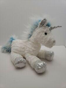 Jo-Ann-Fabrics-UNICORN-J-Bear-White-Plush-Blue-Mane-Tail-Silver-Shiny-Hooves-17-034
