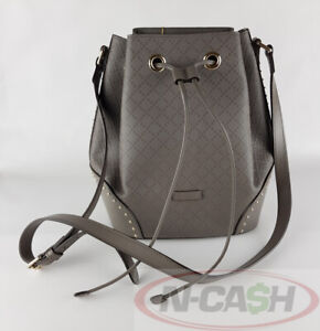 BIGSALE-AUTHENTIC-1750-GUCCI-Gray-Diamante-Textured-Leather-Bucket-Bag