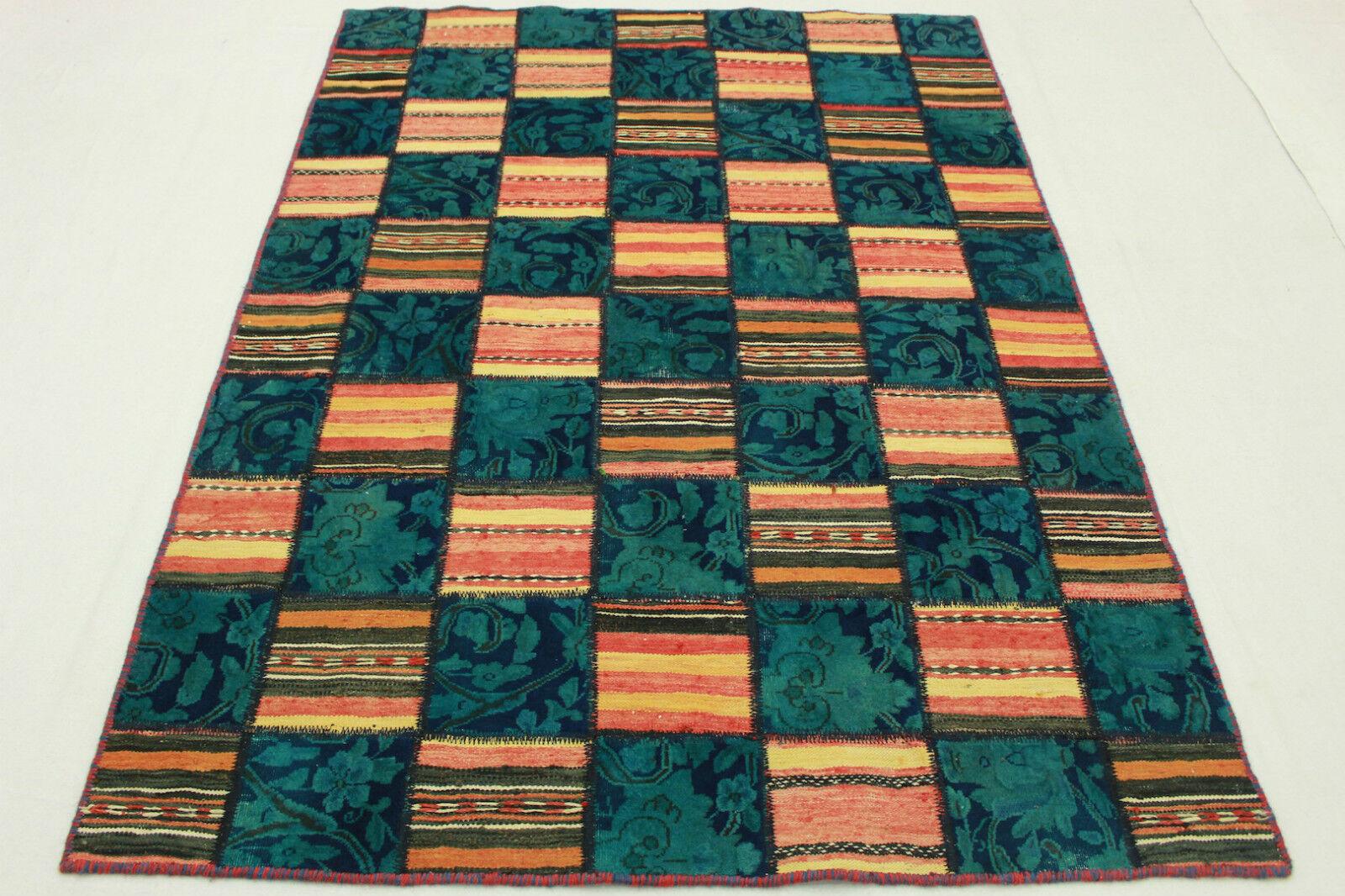 Orient alfombra vintage patchwork Kilim Modern Designer 200x140 look usado 2126