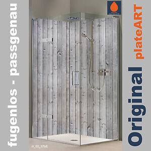 Details Zu Eck Duschruckwand Ruckwand Dusche Alu Fliesenersatz Fliesen Holz Grau