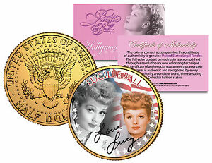 LUCILLE-BALL-Americana-LUCY-Colorized-JFK-Half-Dollar-US-Coin-24K-Gold-Plated
