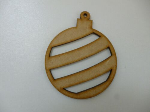 Wooden Christmas Stripe Baubles MDF ELNO à tous Craft Blank jour DECORATION cfe184