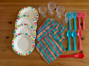 Lot Of Pretend Play Kitchen Dishes Set Plates Cups Napkins Cups Ebay