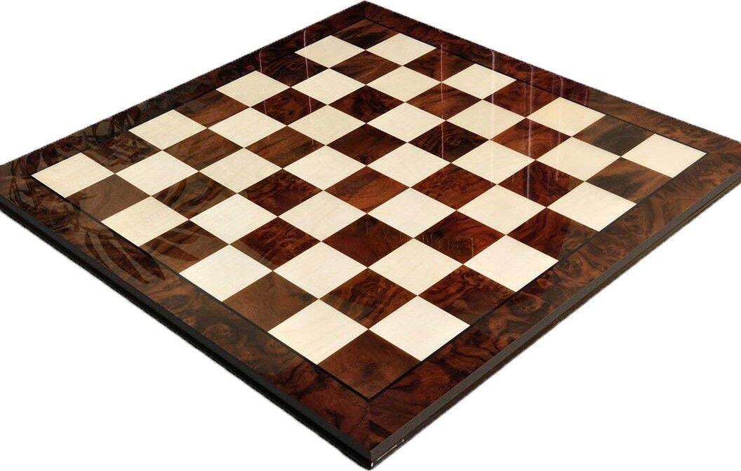 Walnut Burl & Maple Superior traditionnel Chess Board - 2.5  carrés-brillant fini
