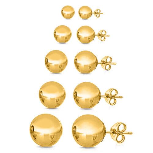 14k Yellow Gold Ball Stud Earrings For Man or Woman High Polish