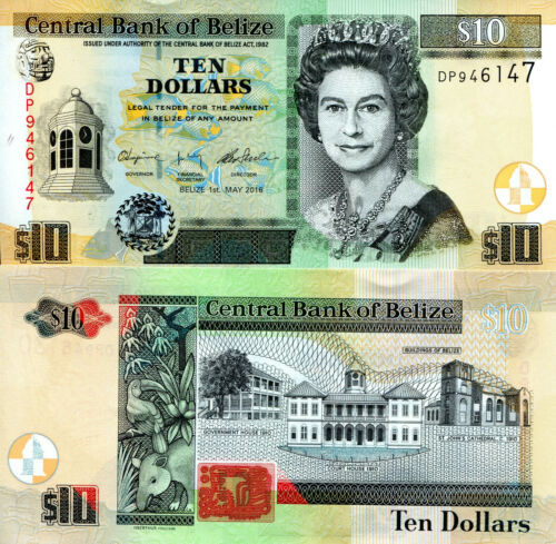 BELIZE 10 Dollars Banknote World Paper Money UNC Currency Pick p68e 2016 Bill