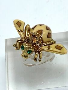 Joan Rivers Bee Brooch Pin Enamel Joan of the Jungle with Multi Color Crystals