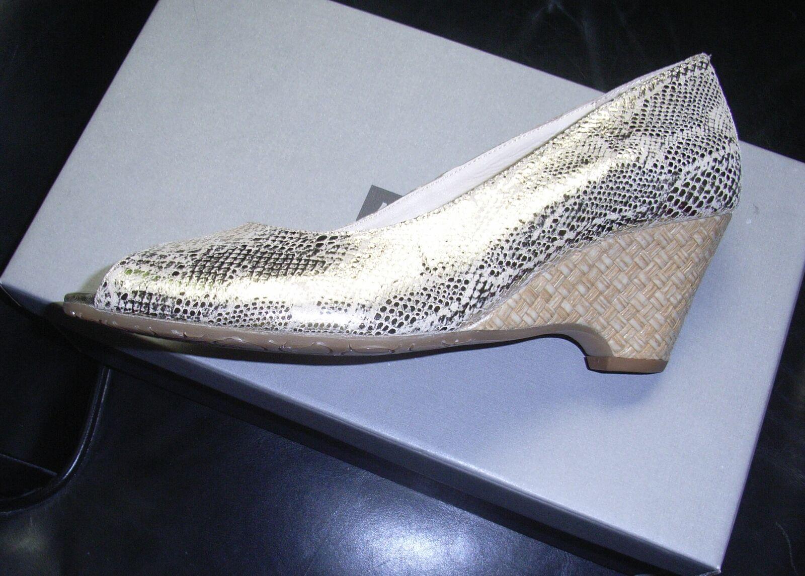 Van Dal Malta Gold Leder Wedge Schuhes Größe 8 NEU with box