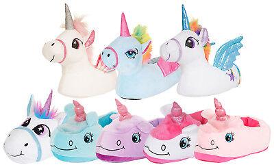 5e3c3fae0 Details about Womens Girls Novelty 3D Character Plush Unicorn Slippers  Ladies Gift Size 10-UK8