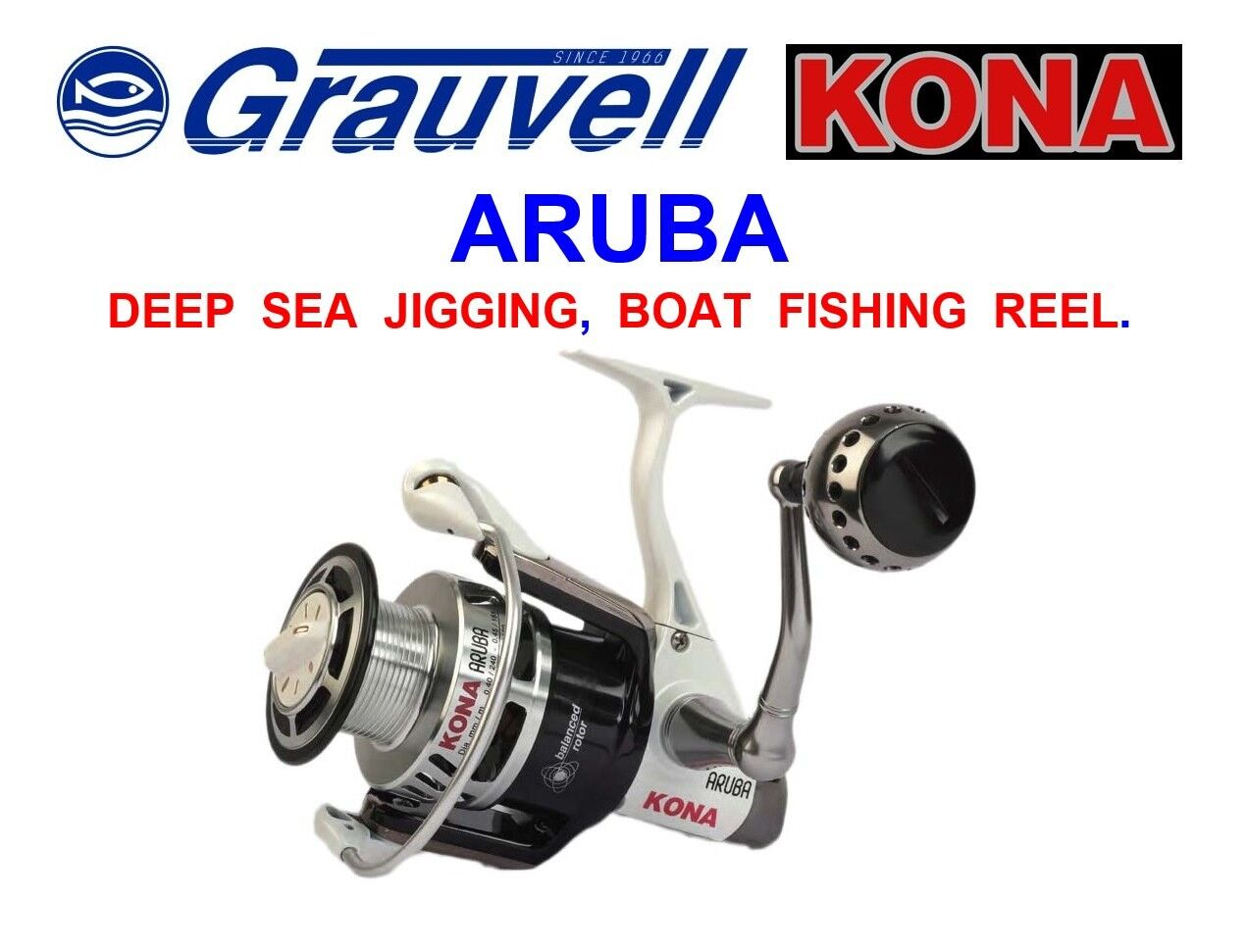 greyVELL KONA ARUBA FIXED SPOOL BOAT REEL FOR DEEP SEA FISHING SLOW ROD JIGGING