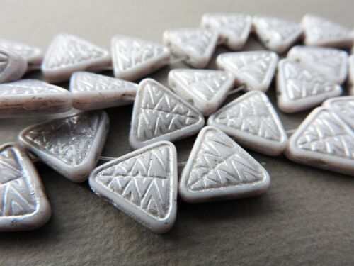 Czech glass pressed 2 hole triangle silver 15 mm pack of 5