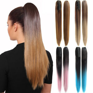 22-034-Women-039-s-Long-Straight-Claw-Ponytail-Colorful-Ombre-Synthetic-Hair-Extensions
