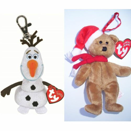 TY BEANIES OLAF THE SNOWMAN DISNEY FROZEN KEYCHAIN C//W SOUND AND XMAS TEDDY BNWT