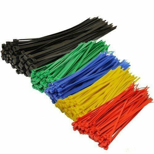 250Pcs Assorted Color Strong Nylon Cable 4-8 In Zip Cord Strap Ties Self Locking