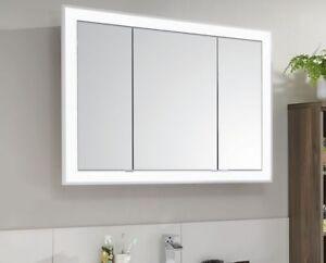 Details zu PURIS Design- Einbau- Spiegelschrank 102 cm mit LED  -Leucht-Alublendrahmen
