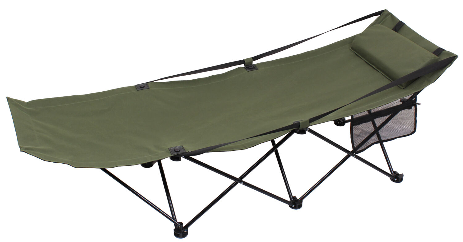 Folding camping cot field bed steel frame olive drab redhco 4560