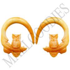 0684 Spiral Owl Taper Expander Stretcher Plugs Hoops 6G 4mm L Brown Beige Blonde