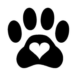 paw print heart dog cat pet vinyl decal sticker puppy cute