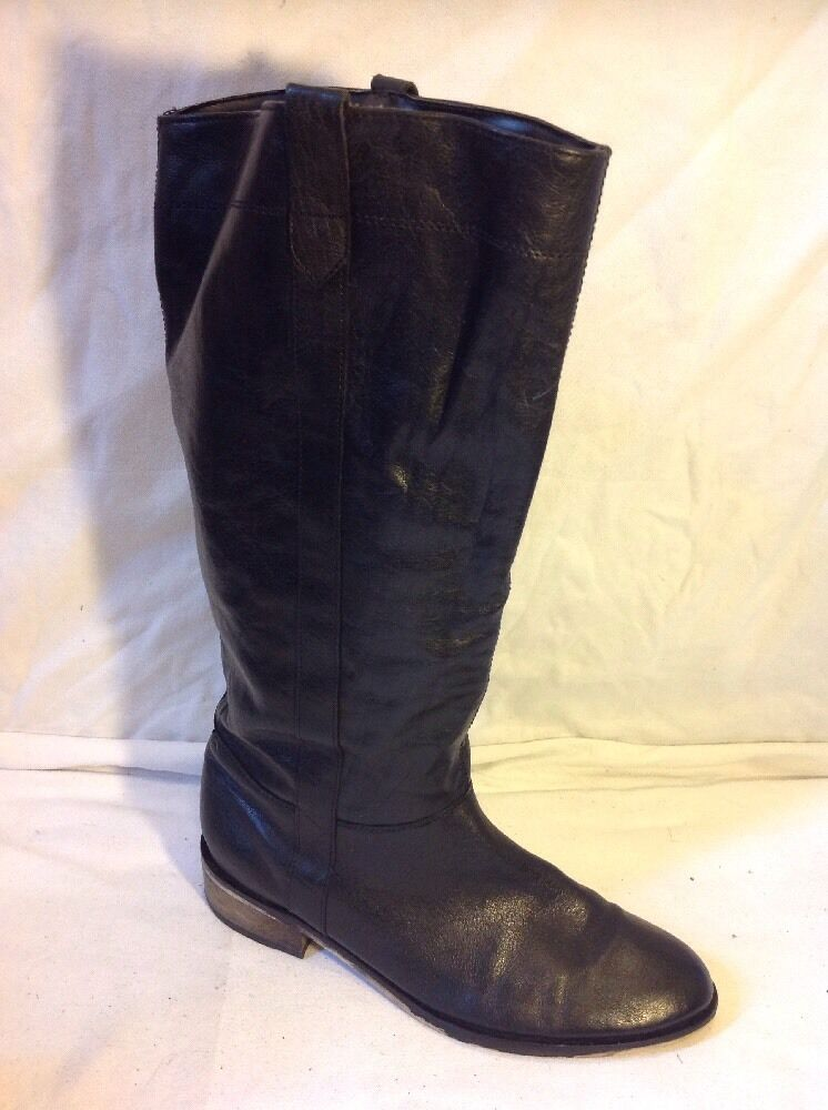 Faith Black Knee High Leather Boots Size 6