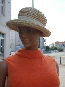 Chapeau De Paille Soleil 80er Medium Melonenform Côtelé True Vintage 80 S Straw A-afficher Le Titre D'origine Marchandises De Haute Qualité