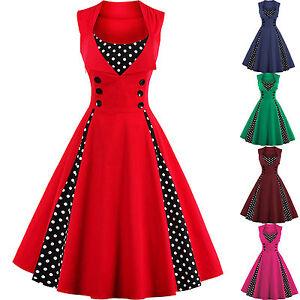 Vintage-Polka-Dot-50-039-s-ROCKABILLY-Swing-Pin-Up-Housewife-Retro-Dress-M-L-XXXXL