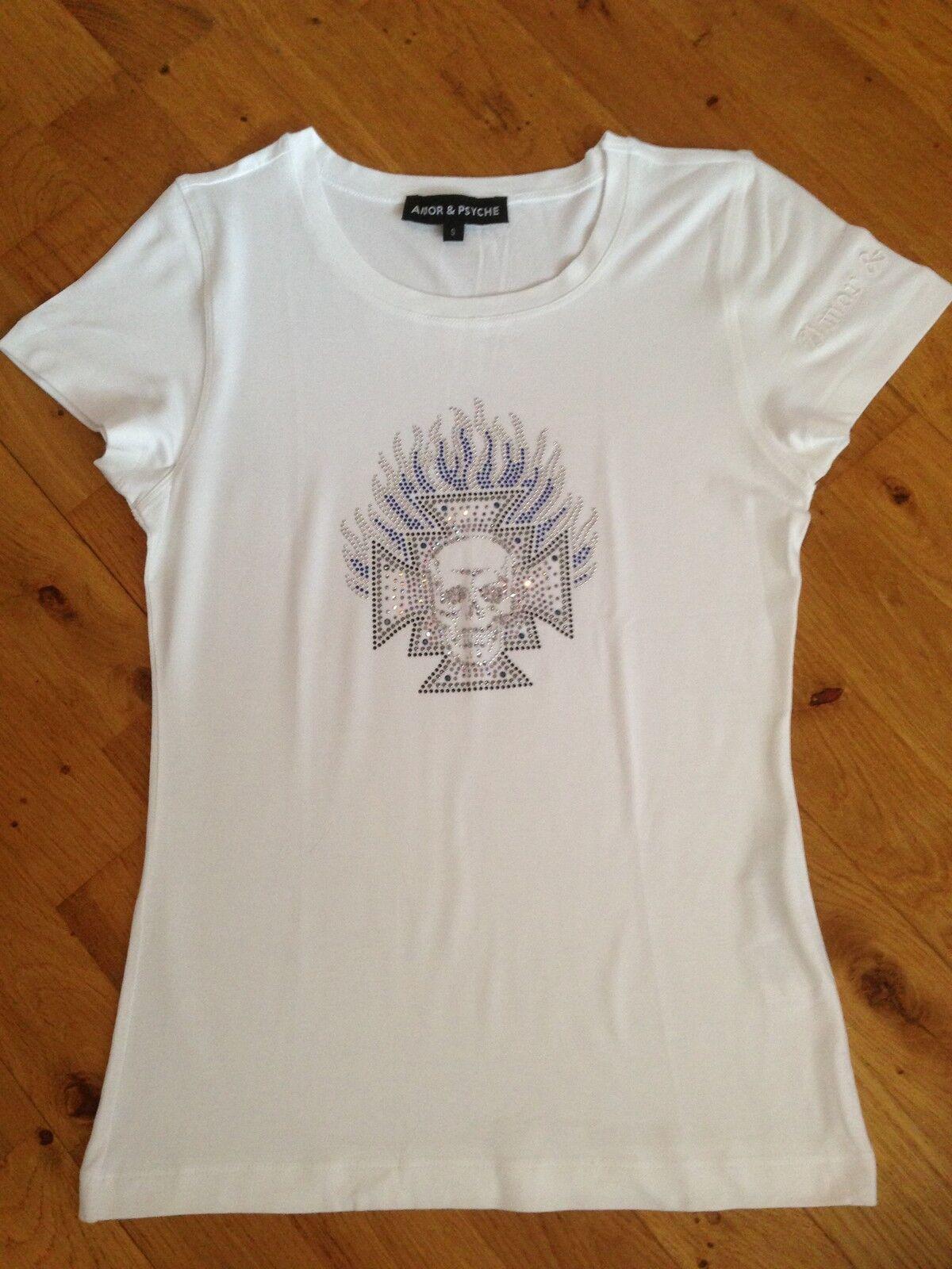 Rockiges Hemd, weiß, Amor & Psyche, echte Swarovskisteine  Totenkopf, Gr. S, NW