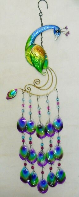 """Peacock Wind Chime Sun Catcher Multi Color  Metal, Fused Glass and Beads  31"""""""