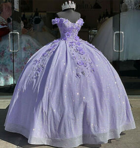 Lilac Sweetheart Quinceanera Dresses 3D Flower Applique Sweet 15 Party Ball Gown