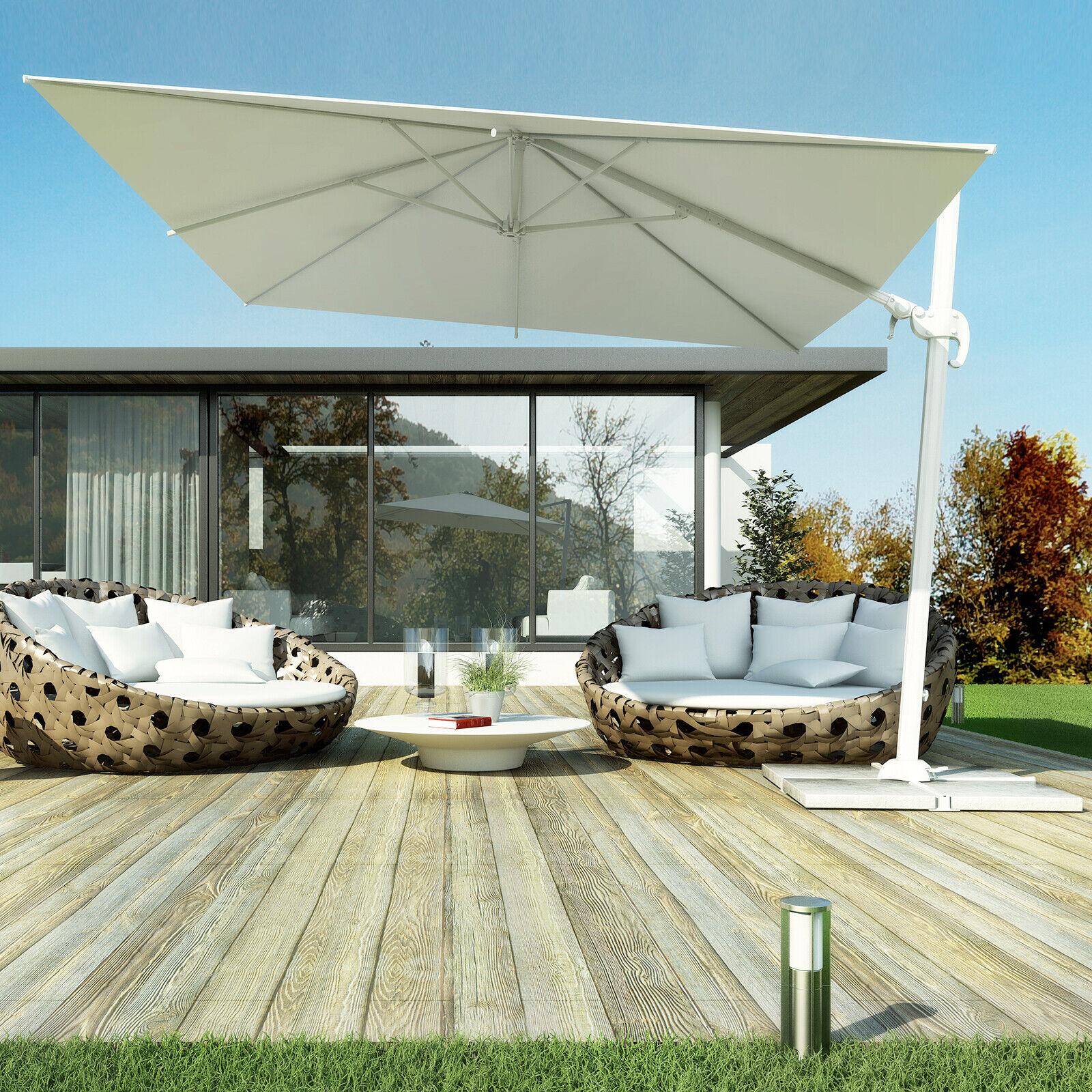 Offerta ombrellone palo laterale 2x3 metri con copertura e palo bianco Lanzarote