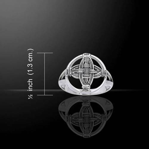 Beautiful Irish St Brigid's Celtic Cross Sterling Silver Ring - Size Selectable