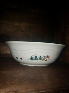 Pfaltzgraff-Snow-Village-Angel-Skating-Snowman-Round-Serving-Bowl-Christmas