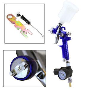 Mini HVLP Gravity Feed Spray Paint Gun W/ Gauge Regulator 1.0MM Nozzle Auto Body