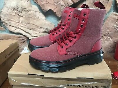 Dr. Martens Men's US 5 Women's US 6 Combs Washed Canvas Combat Boot Red | eBay