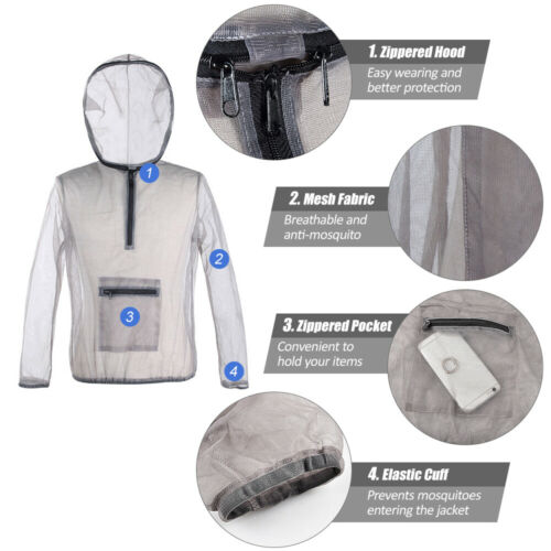 Outdoor Camping Ultralight Mesh Hooded Bug Jacket Anti-mosquito Protective