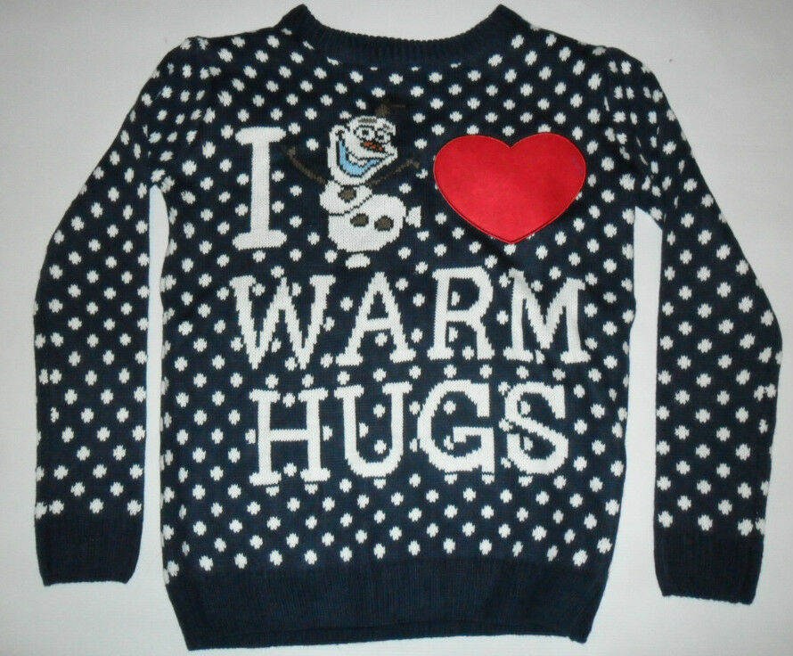 Primark Femme Disney Frozen Olaf I Love Warm Hugs Noël Pull Uk 6 - 20