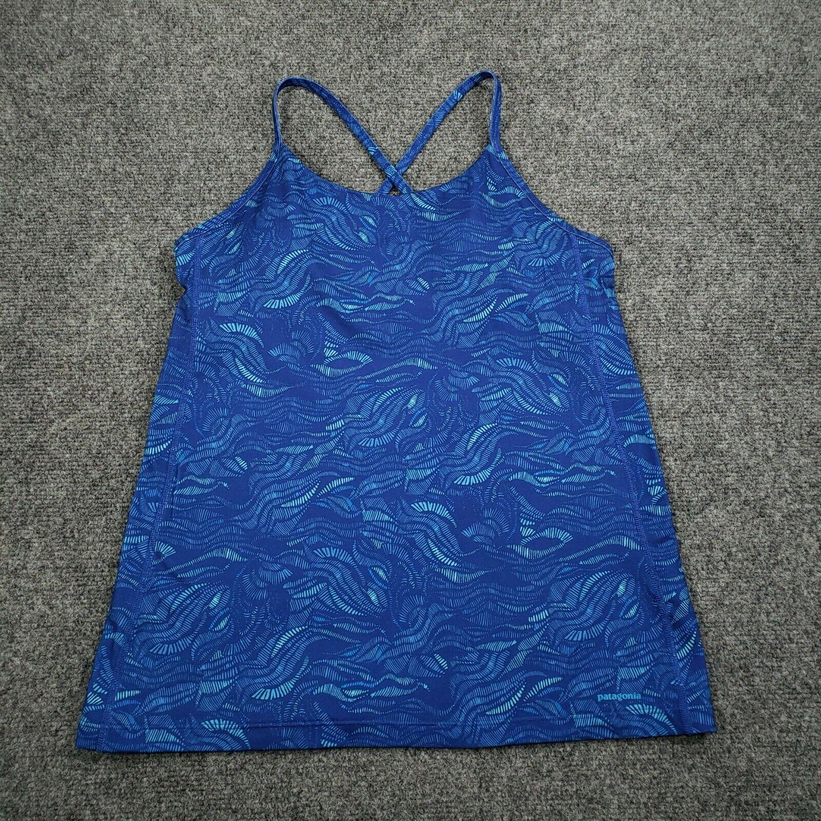 Patagonia Top M Medium Blue Tank Printed Scoop Neck Racerback Activewear Womens