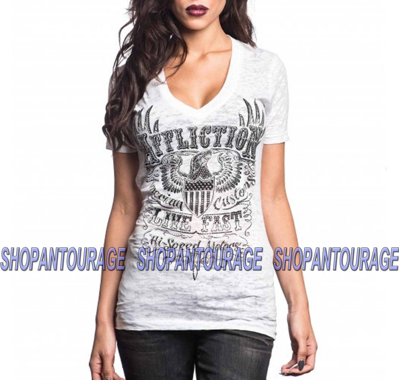AFFLICTION Motorworks AW10016 Women`s Short Sleeve White Burnout T-Shirt