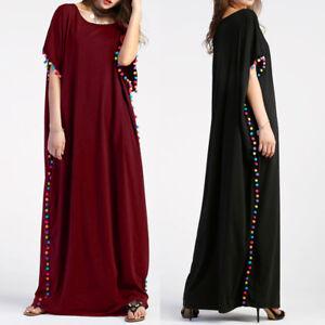 ZANZEA-Women-Pom-Pom-Trim-Batwing-Short-Sleeve-Baggy-Kaftan-Long-Maxi-Dress-Plus